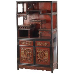 Antique Chinese Red Painted and Lacquered Cabinet