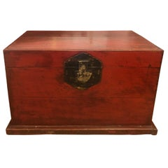 Antique Chinese Red Painted & Distressed Trunk