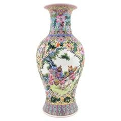 Antique Chinese Republic Era Ornately Hand-Painted Vase or Table Lamp Base
