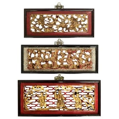 Antique Chinese Reticulated Gilt and Vermillion Hardwood Figural Plaques