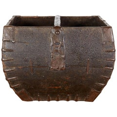 Antique Chinese Rice Measure Basket with Original Iron Decoration