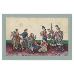 Antique Chinese Rice Paper Pith Painting of Men and Women '19th century'