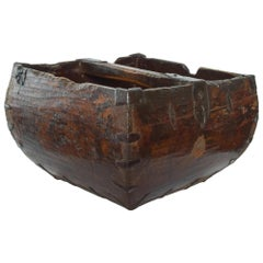Antique Chinese Rich Wood Rice Grain Measure Harvest Carry Bucket w/ Iron Detail