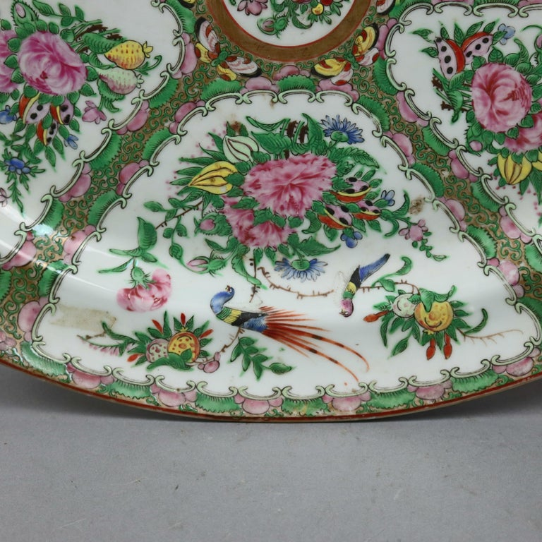 Enameled Chinese Rose Medallion Enamel and Gilt Decorated Porcelain Platter, circa 1890 For Sale