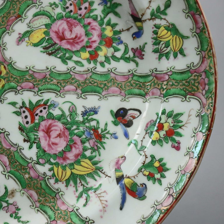 Chinese Rose Medallion Enamel and Gilt Decorated Porcelain Platter, circa 1890 In Good Condition For Sale In Big Flats, NY