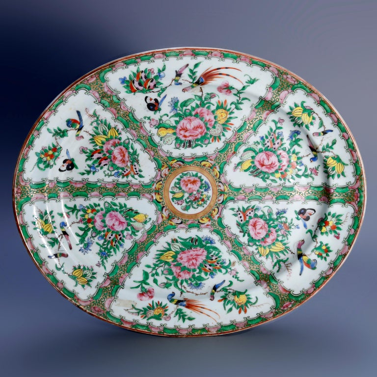 19th Century Chinese Rose Medallion Enamel and Gilt Decorated Porcelain Platter, circa 1890 For Sale