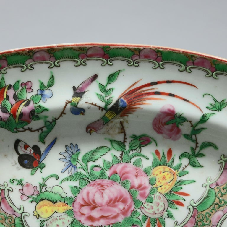 Ceramic Chinese Rose Medallion Enamel and Gilt Decorated Porcelain Platter, circa 1890 For Sale