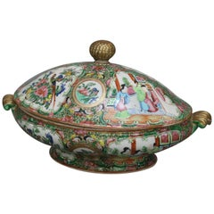 Antique Chinese Rose Medallion Hand Enameled & Gilt Porcelain Tureen, circa 1900