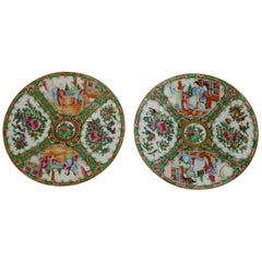 Antique Chinese Rose Medallion Porcelain Plates, Set of Two