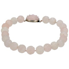 Antique Chinese Rose Quartz Beaded Choker Necklace Retailed by John Wannamaker