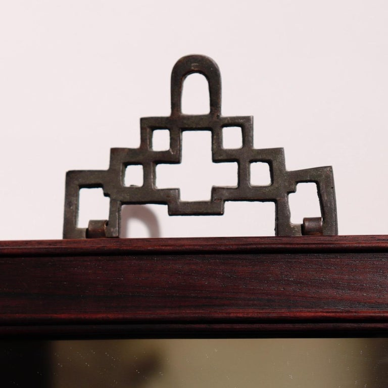 Beveled Antique Chinese Rosewood Frame with Mirror For Sale