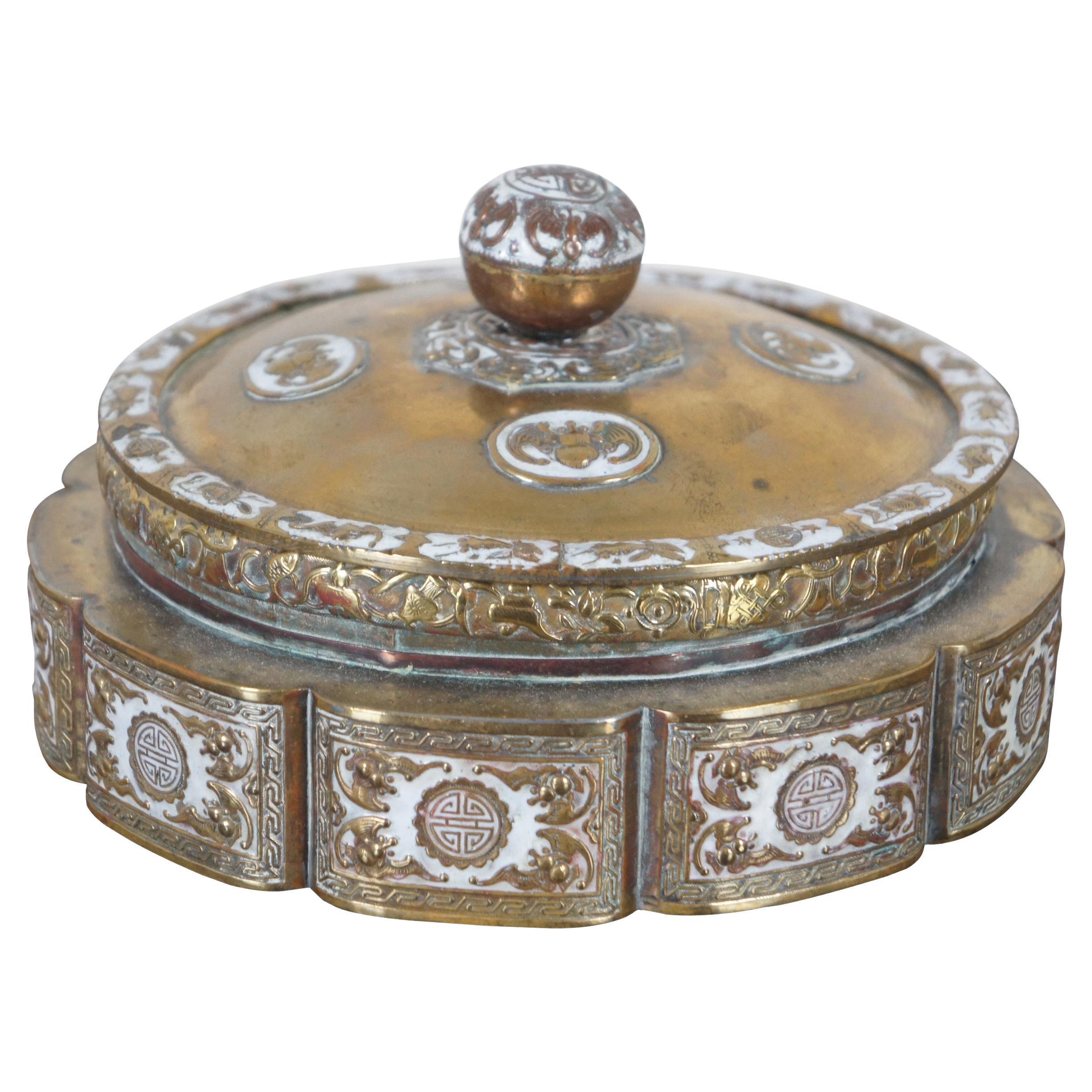 Antique Chinese Round Brass Enameled Lidded Trinket Keepsake Box Dish