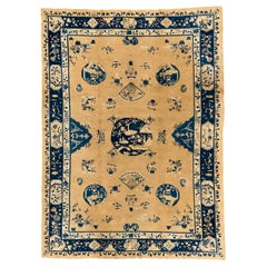 Antique Chinese Rug in Ivory and Navy with Decorative Traditional Symbols