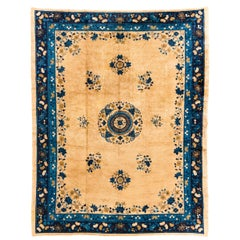 Antique Chinese Rug of Classic Floral Design in Ivory Field and Blue Border