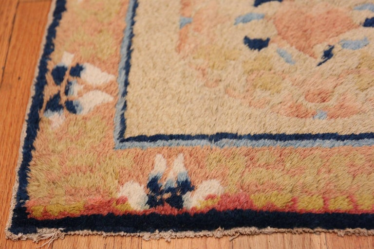 Beautiful small square Scatter size antique Chinese rug, Origin: China, circa 1900. Size: 1 ft 9 in x 2 ft (0.53 m x 0.61 m).