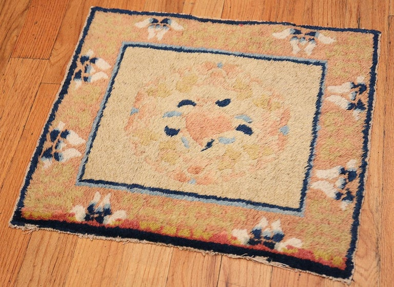 Hand-Knotted Antique Chinese Rug. Size: 1 ft 9 in x 2 ft (0.53 m x 0.61 m) For Sale