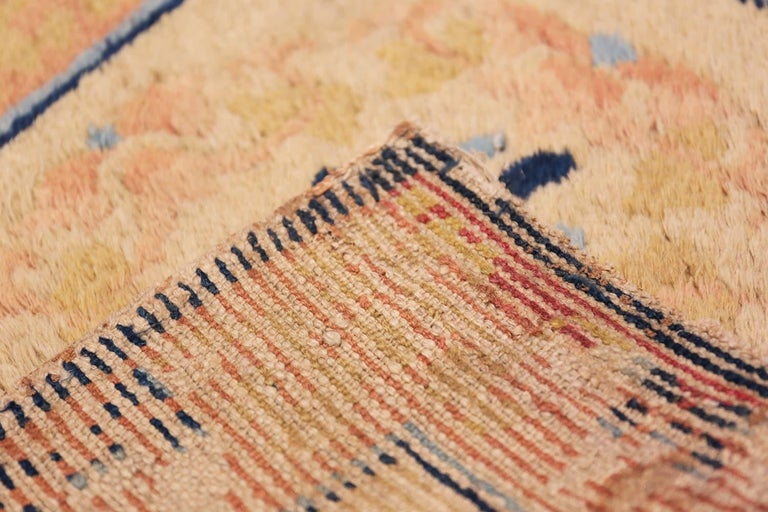 Wool Antique Chinese Rug. Size: 1 ft 9 in x 2 ft (0.53 m x 0.61 m) For Sale