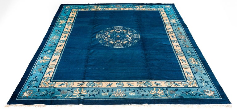 Antique Chinese Rug with Plain Blue Field with Patterned Borders and Butterflies In Good Condition For Sale In Evanston, IL