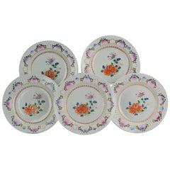 Antique Chinese Set of SE Asian Market Qianlong Plates Fencai Lotus