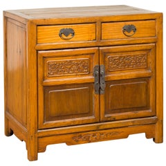 Antique Chinese Side Chest with Carved Motifs, Two Drawers and Double Doors