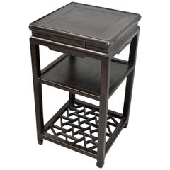 Antique Chinese Side Table, Lamp Table, Dark Brown Black