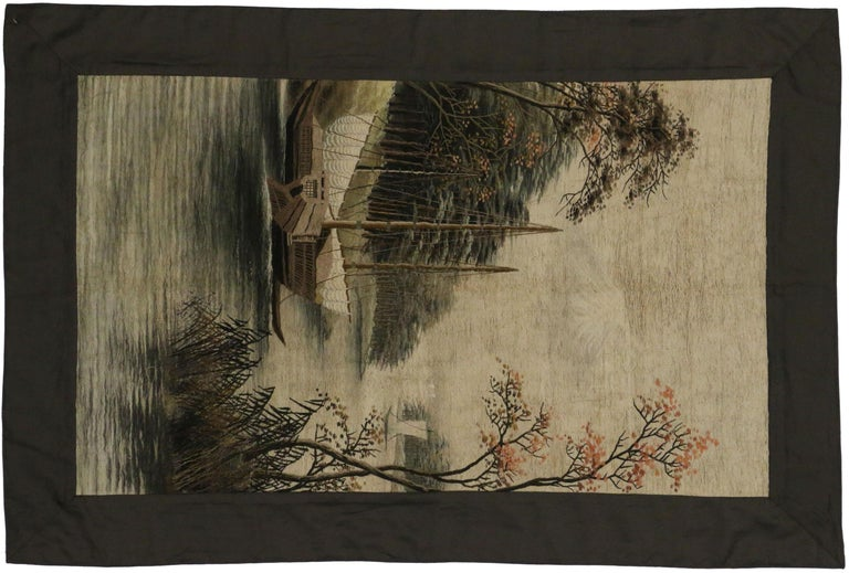 Antique Chinese Silk Embroidered Tapestry, Wall Hanging In Good Condition For Sale In Dallas, TX