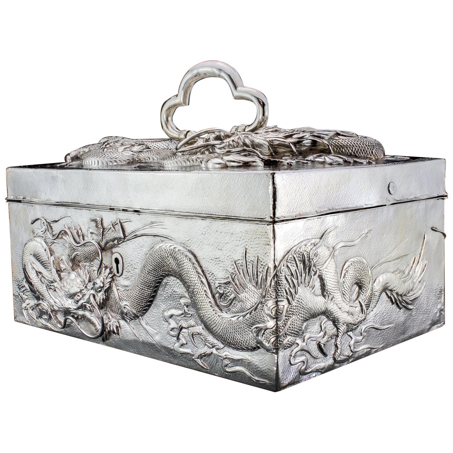 Antique Japanese Silver Cigar Box
