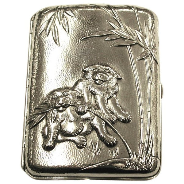 Antique Chinese Silver Cigarette Case Depicting Red Panda's with Bamboo