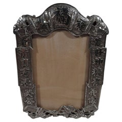 Antique Chinese Silver Ribbon Picture Frame by Wang Hing
