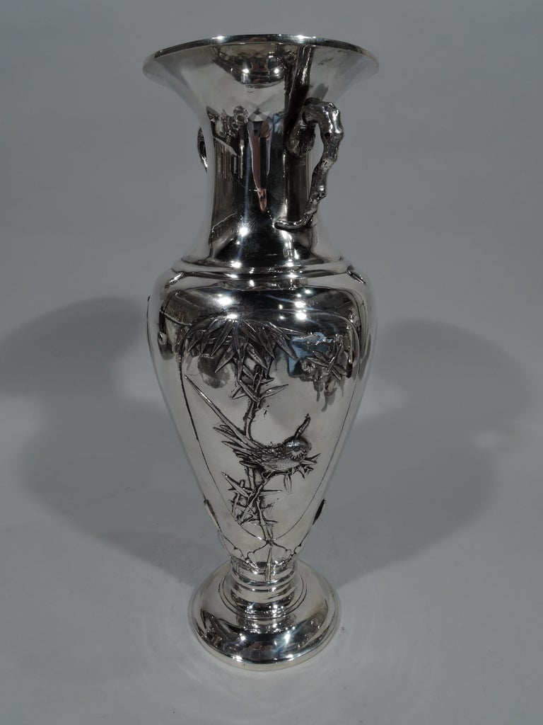 Chinese Export Antique Chinese Silver Vase with Bamboo and Birds For Sale