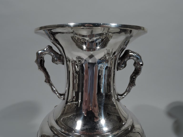 Antique Chinese Silver Vase with Bamboo and Birds In Excellent Condition For Sale In New York, NY
