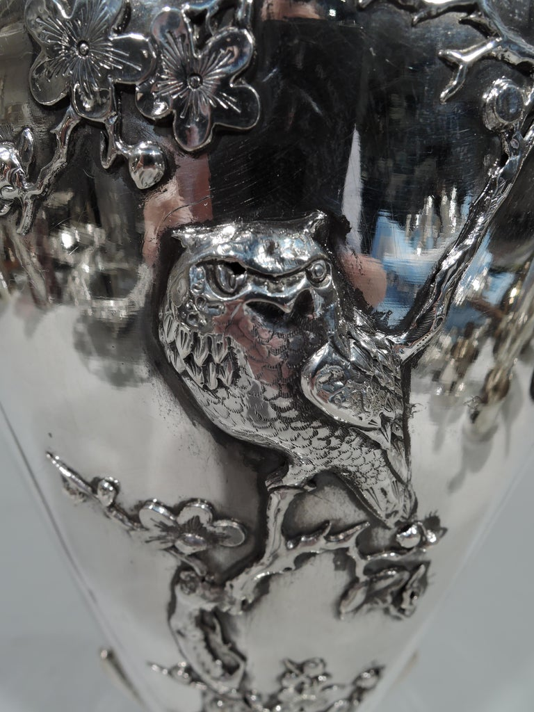 Antique Chinese Silver Vase with Bamboo and Birds For Sale 1