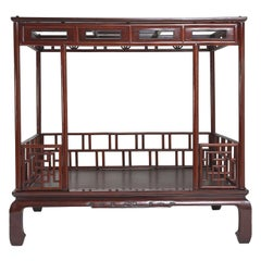 Antique Chinese Six Post Canopy Bed, circa 1800, Chinoiserie, Zhejiang
