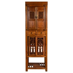 Antique Chinese Slender Kitchen Cabinet with Doors, Drawers and Open Fretwork