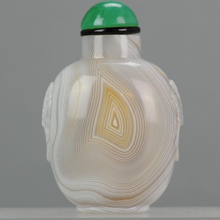 Antique Chinese Snuff Bottle Agate Thumbprint Qing Dynasty, 18th-19th Century For Sale 4
