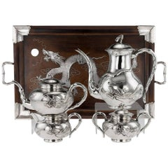 Antique Chinese Solid Silver Large Dragon Five-Piece Tea Set, Zeesung circa 1910