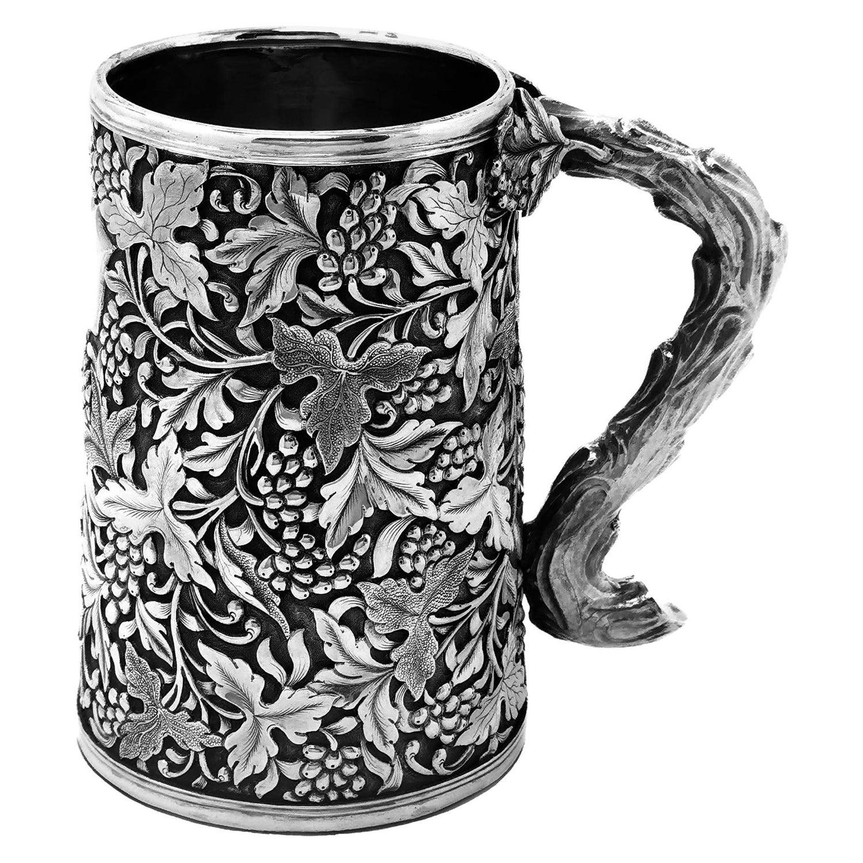 Antique Chinese Solid Silver Tankard / Mug c. 1860 19th Century