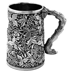 Antique Chinese Solid Silver Tankard / Mug c. 1860 19th Century