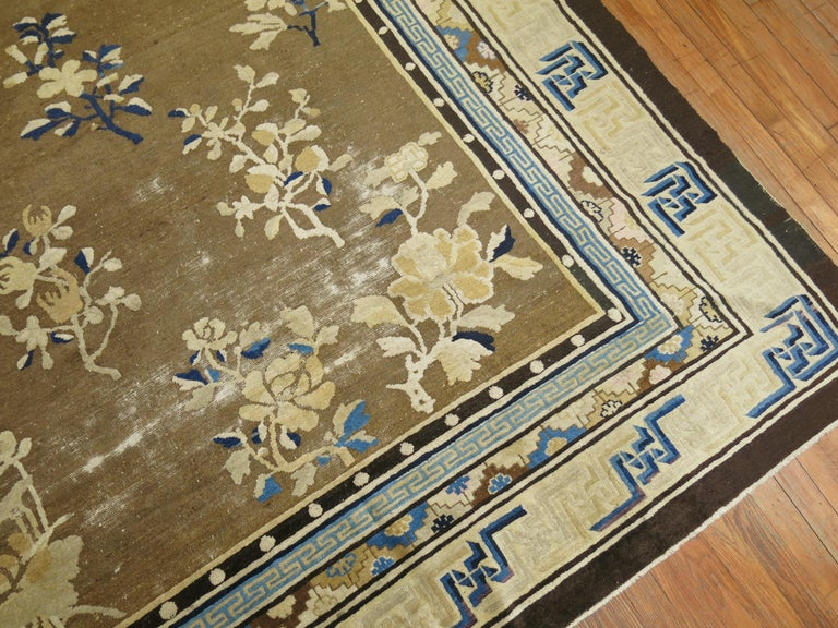 Romantic Antique Chinese Square Peking Rug For Sale