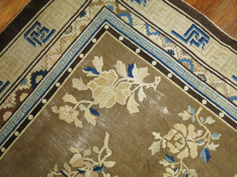 Hand-Woven Antique Chinese Square Peking Rug For Sale
