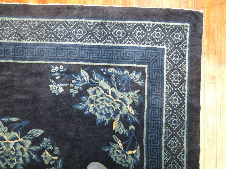 Antique Chinese Square Peking Rug In Excellent Condition For Sale In New York, NY