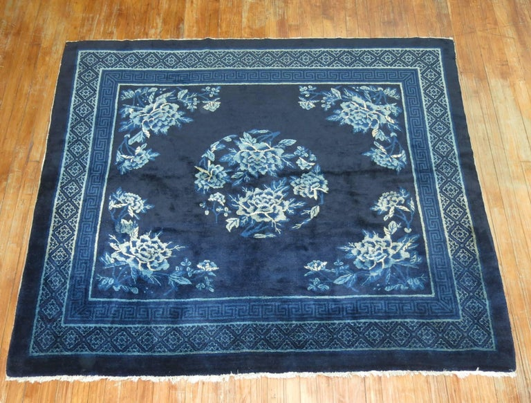 20th Century Antique Chinese Square Peking Rug For Sale