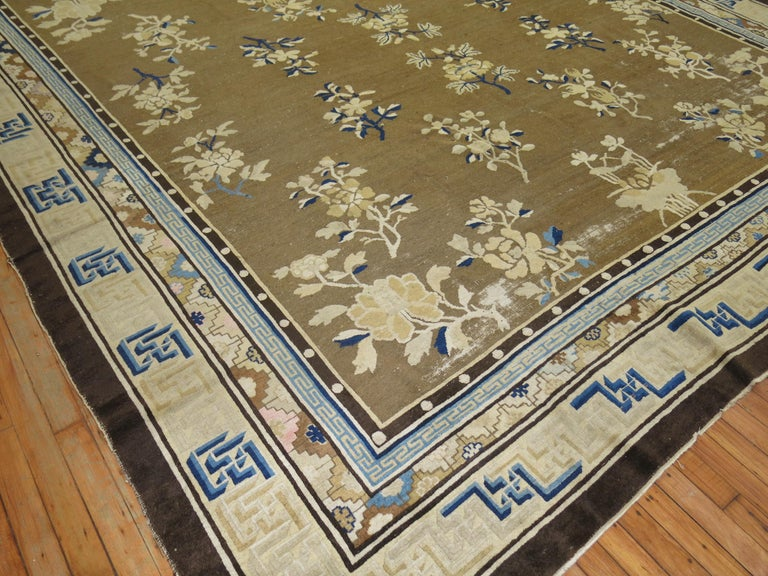 Wool Antique Chinese Square Peking Rug For Sale