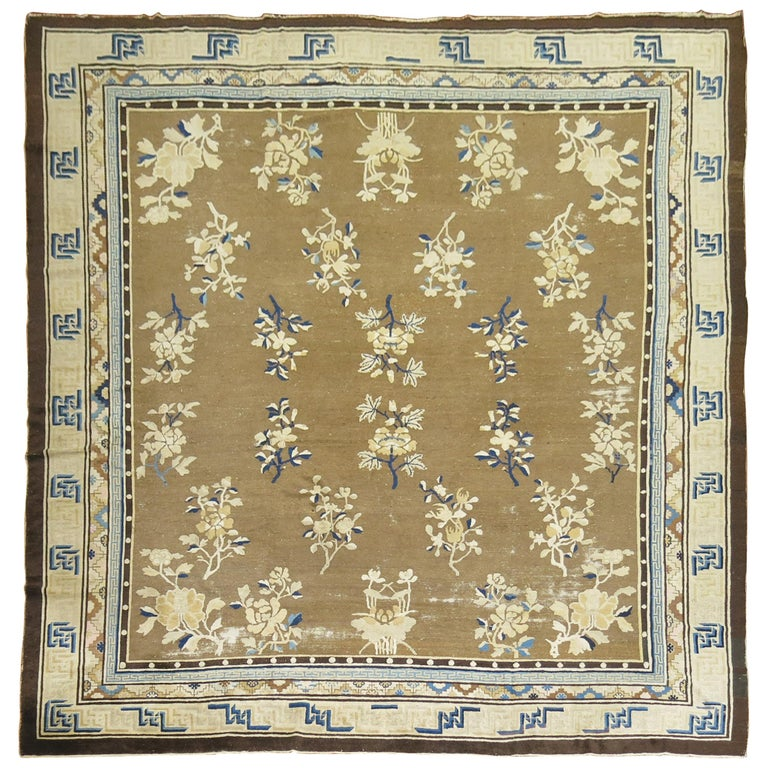Antique Chinese Square Peking Rug For Sale