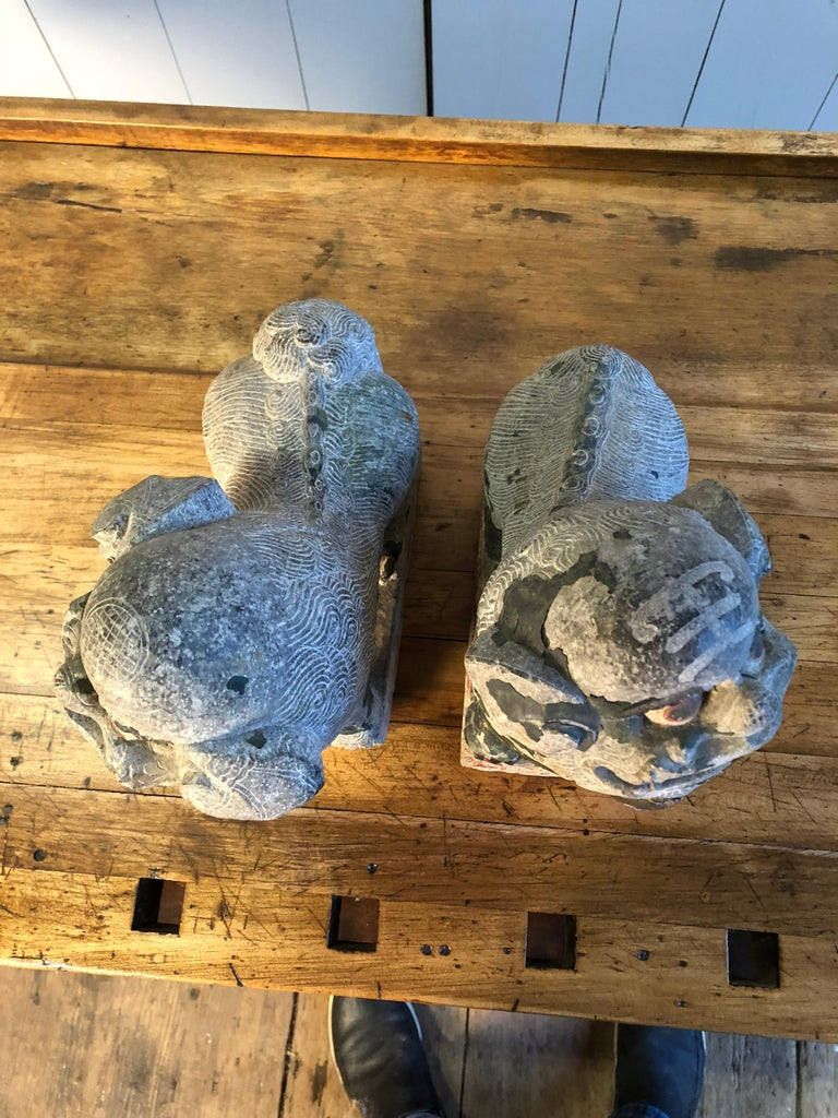 Antique Chinese Stone Foo Dogs For Sale 7