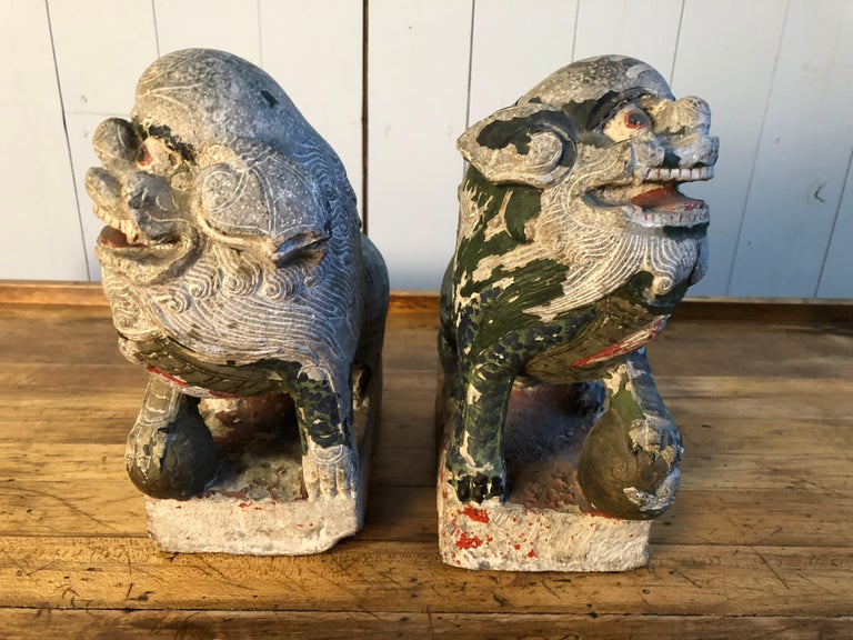 Antique Chinese Stone Foo Dogs For Sale 8