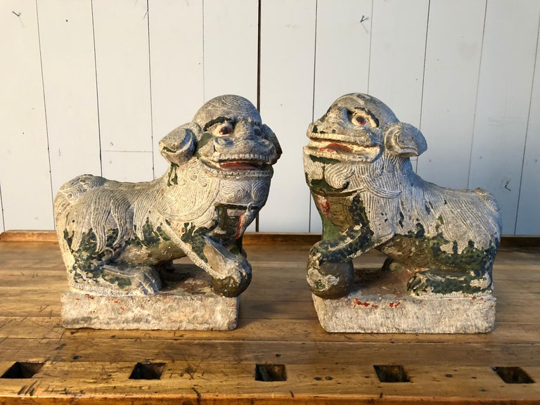 Carved Antique Chinese Stone Foo Dogs For Sale