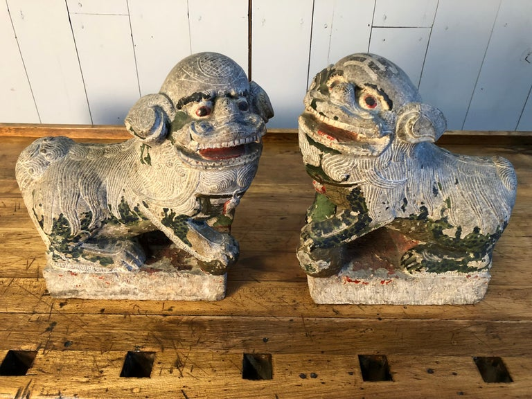 Antique Chinese Stone Foo Dogs In Good Condition For Sale In Doylestown, PA