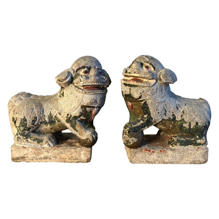 Antique Chinese Stone Foo Dogs For Sale