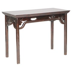Antique Chinese Table with Open-carved Aprons and Attached Humpback Stretchers